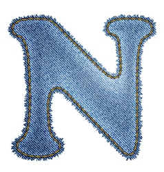 Jeans alphabet denim letter n vector