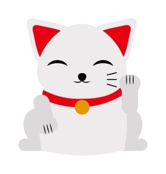 Japanese maneki neko lucky cat fortune symbol vector