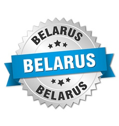 Belarus round silver badge with blue ribbon vector