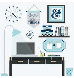 Modern blue office frames and decoration vector