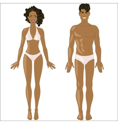 African American woman and man in underwear vector image vector image