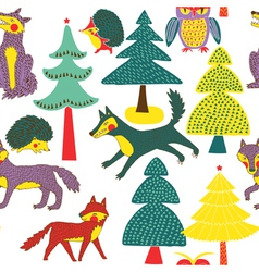animals and forest paper art vector image