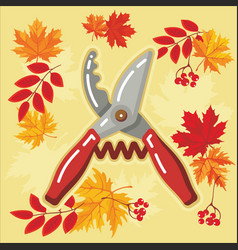 autumn agricultural icons with autumn leaves 5 vector image