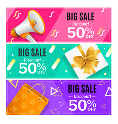 Big sale banner card horizontal set vector
