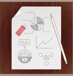 blank paper page pencil eraser chart template vector image vector image