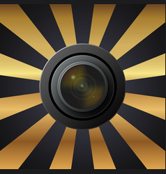 Camera lens with lenses on black and yellow vector