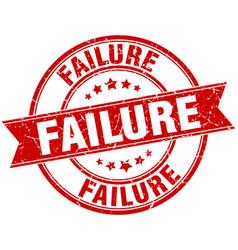 Failure round grunge ribbon stamp vector