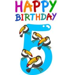 fifth birthday anniversary card vector image vector image