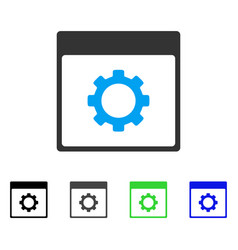 Gear options calendar page flat icon vector