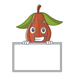 Grinning with board cacao bean character cartoon vector