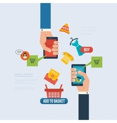 Icons for internet marketing delivery and online vector image vector image