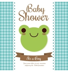 Kawaii frog baby shower design graphic vector