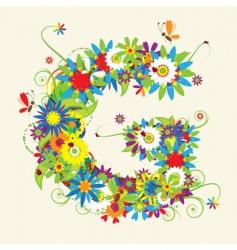 letter G floral design vector image vector image
