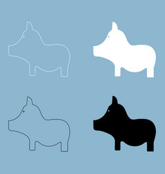 Pig the black and white color icon vector