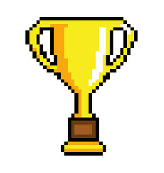 Pixelated trophy with coin game award vector