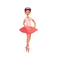 Pretty young ballerina in pink tutu standing on vector