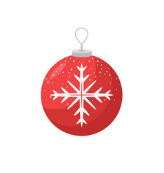 red christmas bulb with a snowflake in the middle vector image vector image