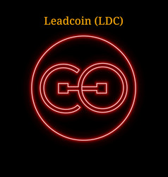 Red neon leadcoin ldc cryptocurrency symbol vector