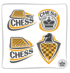 set icons for chess game vector image vector image