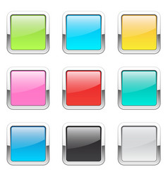 set of square buttons vector image vector image