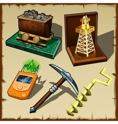 Set of tools miner and gift figurines vector