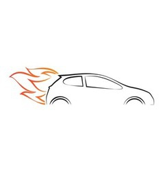 Silhouette of car with fire vector image vector image