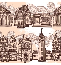 Sketch city seamless border black and white vector image vector image