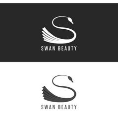 Swan logo mockup beauty salon bird emblem vector