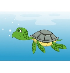 Turtle cartoon swimming vector image vector image