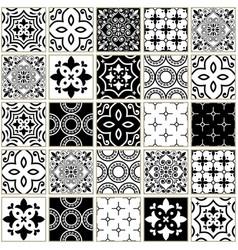 veector navy blue tiles pattern azulejos vector image
