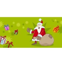Xmas greeting card with santa vector
