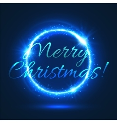 Christmas festive poster with blue glowing circle vector
