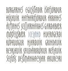 Iceland s cities lettering vector