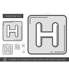 Hospital sign line icon vector