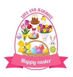 easter day icons set vector image