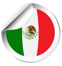 maxico flag on round sticker vector image