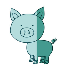 Aquamarine hand drawn silhouette of pig vector
