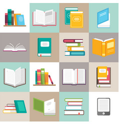 Icons of books set in a flat style vector