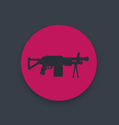 Machine gun icon automatic firearm weapon vector