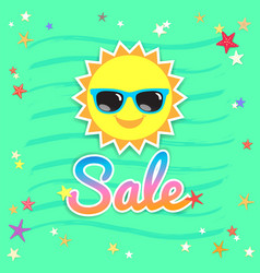Summer sales banner or poster with smiley sun vector