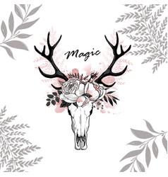 Magic horn deer floral vector
