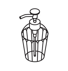 Liquid soap outline icon dispenser isolated on vector