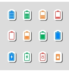 Battery icons set as labes vector