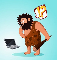 Caveman found a laptop vector