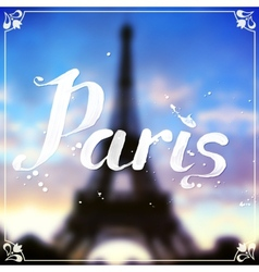 Eiffel tour blurred background with white vector