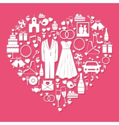 Wedding elements in the shape of a heart vector