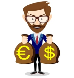 Businessman with a bag of gold cash dollar vector