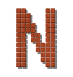 Letter n made from realistic stone tiles vector