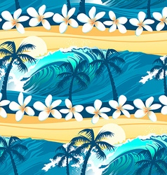 Tropical surfing with palm trees seamless pattern vector