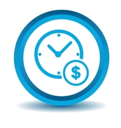 Time dollar icon blue 3d vector